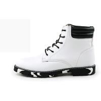 冬季马丁靴男英伦高帮鞋冬季潮男厚底休闲鞋男士短靴黑白色圆头皮靴冬季马丁靴保暖