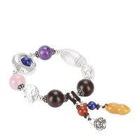 戴和美 精选青金石配紫水晶,粉水晶,小叶紫檀S925银时尚手链
