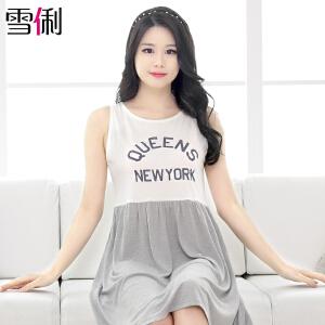 雪俐睡衣女夏季短袖韩版简约字母甜美睡裙