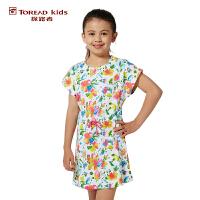 探路者TOREAD品牌童装 户外运动 女童满印针织连衣裙