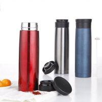 普润 500ML全304不锈钢车载杯 便携式双层保温杯 高端保温瓶PR123红色