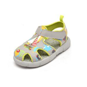 Shoebox/鞋柜夏季 卡通魔术贴平跟包头男童鞋凉鞋
