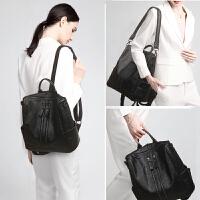 玛罗士 女包新款2017女士双肩包双排拉扣休闲包包大容量背包简约旅行包