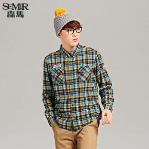 森马法兰绒长袖衬衫 秋季 男士韩版方领纯棉休闲合体衬衣潮