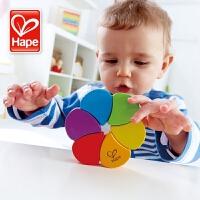 德国Hape儿童木质玩具 正品益智早教彩虹翻翻乐 宝宝智力创意玩具