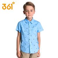 361度童装 男童装短袖衬衫儿童中大童纯棉印花短衬衣