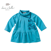 davebella戴维贝拉女童宝宝秋装新款长袖连衣裙 婴儿裙