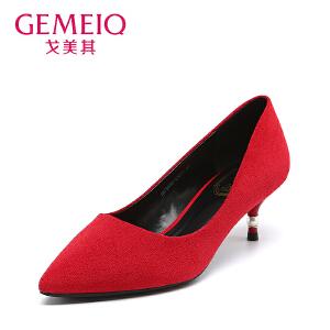 戈美其秋季浅口尖头女鞋细跟单鞋女高跟鞋红色婚鞋新娘鞋