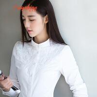 【下单立享7折 买2件5折】白衬衫女长袖2017春装新款立领打底衫修身上衣刺绣纯棉衬衣