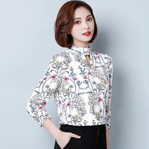 【当当年中庆】波柏龙 2017新款雪纺衬衫女长袖V领修身衬衣T恤