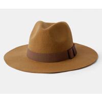 欧美英伦复古爵士帽 羊毛呢帽礼帽子 波浪大沿蝴蝶结秋冬女