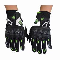 绿色加网眼摩托车赛车手套 夏季骑士短款手套 越野手套