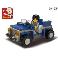 全店满99包邮!小鲁班拼装积木 启蒙拼装探险吉普车车模型6岁上男孩益智创意玩具