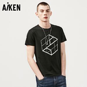 aiken短袖T恤男士2017夏装新款圆领半袖体恤男修身潮牌几何