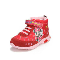 鞋柜SHOEBOX冬款女童紫色魔术贴米妮图案高帮加绒加厚休闲鞋