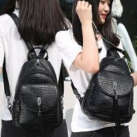 玛罗士 女包新款2017包包欧美风双肩背包简约时尚书包流苏学生包旅行包