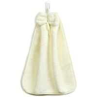 [当当自营]三利 珊瑚绒蝴蝶结挂式擦手巾 加厚不掉毛强吸水 浴室厨房居家多用途抹手毛巾 30×44cm 象牙色
