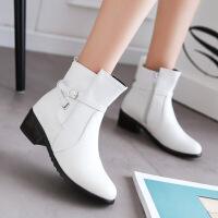 彼艾2016秋冬新款英伦风女靴单靴粗跟及踝靴中跟裸靴马丁靴女短靴冬季女鞋