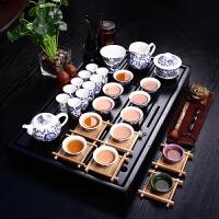 尚帝 整套青花瓷茶具套装 实木茶盘电磁炉 功夫茶具陶瓷套装特价 TZ-QHCTZ10