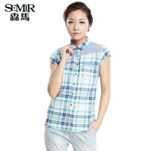 森马夏装新款短袖衬衫 女装百搭方领格子衫韩版拼接短袖衬衫