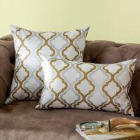 奇居良品 欧式现代沙发床头抱枕套方枕套腰枕套 艾曼达烫金靠垫套