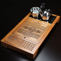 s思故轩鸡翅木茶盘功夫茶具实木托盘排水茶海木茶台电磁炉 木制抽水茶座CP2708