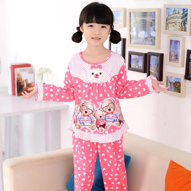 阿拉兜 春季纯棉儿童睡衣 女童长袖长裤家居服套装