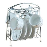 欧式咖啡杯套装 高档咖啡杯 创意13件套 骨瓷咖啡杯碟勺子架子 银边咖啡杯