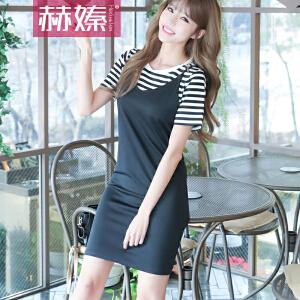 【满200减100】【hersheson赫��】2017新款韩版短袖条纹女T恤+V领吊带连衣裙修身两件套包臀裙H6675