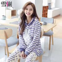 雪俐法兰绒女士睡衣冬季可爱连帽卡通韩版珊瑚绒家居服