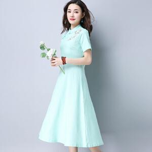 波柏龙 2017夏装新款复古绣花盘扣立领修身高腰短袖连衣裙