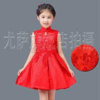 秋冬新款红色长袖儿童旗袍礼服花童装古典女童生日公主裙演出服装