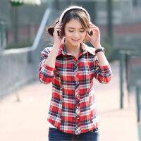 打底衬衫格子衬衫女学生衬衣长袖秋冬新款韩版纯棉上衣