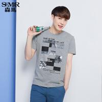 森马短袖T恤 夏装 男士圆领图案印花学生T恤针织衫韩版潮