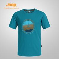 【领券立减60元】Jeep/吉普 男士户外速干透气防晒圆领短袖T恤衫J651010055