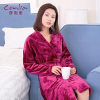 【专柜同款】康妮雅秋冬睡袍 女士法兰绒长袖简约休闲浴袍