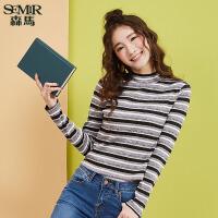 森马针织衫女2017秋季新款韩版显瘦条纹打底衫学生装弹力毛衣线衫