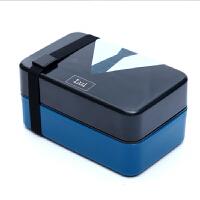 创意学生饭盒可爱便当盒可密封微波情侣配叉勺子双层分格餐盒 深蓝