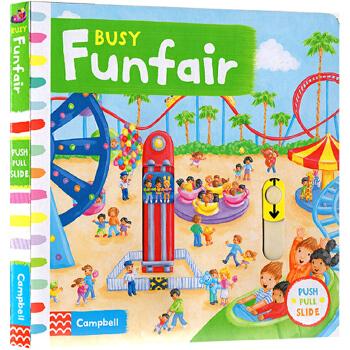 Busy系列 英文原版启蒙 BUSY FUNFAIR 纸板 机关 操作 活动 书