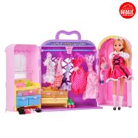 乐吉儿芭比娃娃礼盒玩具芭比公主系列梦幻衣柜橱大礼盒可儿娃娃 六一儿童节礼物H21C
