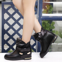 彼艾2014秋冬马丁靴鞋蝴蝶结圆头平跟方根英伦风金属短靴女式靴子