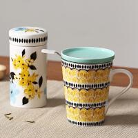 Evergreen爱屋格林 创意时尚陶瓷茶隔杯密封茶叶罐套装带盖过滤泡茶杯水杯