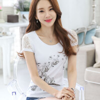 波柏龙 短袖T恤女短袖夏季新款韩版女装蕾丝袖打底衫气质淑女学生时尚