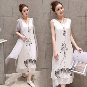 波柏龙 春夏款中国风水墨印花连衣裙棉麻小清新长裙两件套
