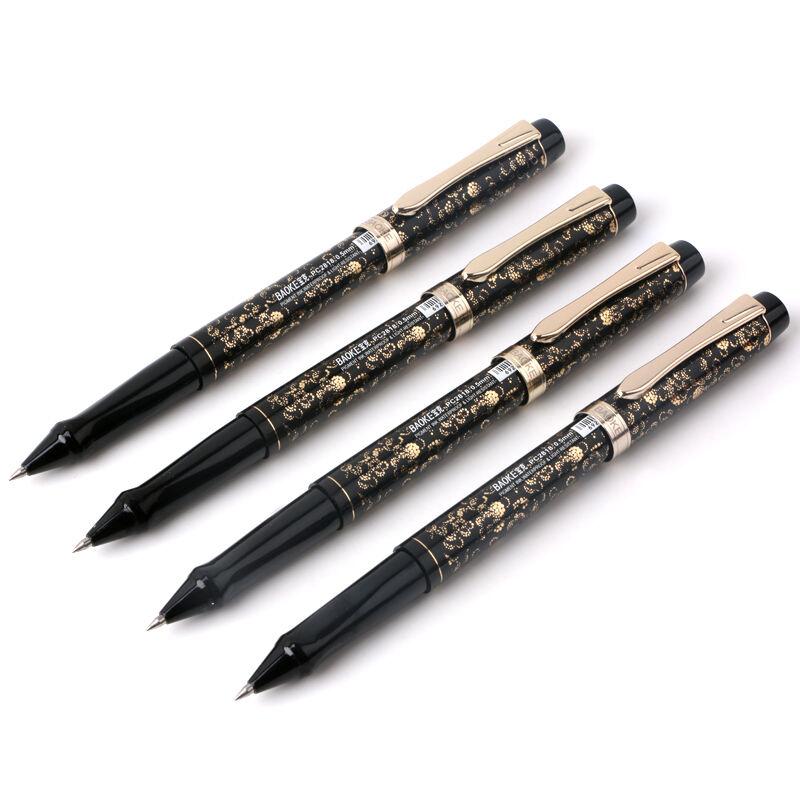 英伦格子盖帽水笔 学生写字笔 办公中性笔 12支/盒_灰色花纹