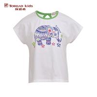 探路者TOREAD品牌童装 户外运动 夏装女童印花圆领儿童短袖T恤