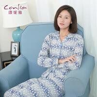 康妮雅2016春季新款家居服 女士长袖几何图案印花睡衣套装