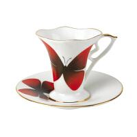 YAMI紫蝴蝶对杯 高档陶瓷杯子 花式咖啡杯碟 简约时尚套装 180ml