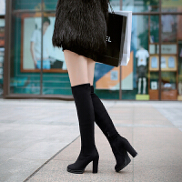 彼艾2016秋冬女鞋过膝长靴粗跟高跟骑士靴绒面高筒瘦腿弹力靴子