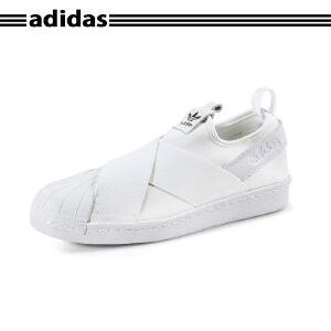 【新品】Adidas Superstar 三叶草SLIP ON女鞋黑武士一脚蹬S81338